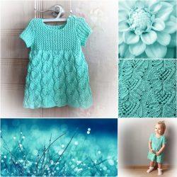 Платье «Бирюзовый сон» на 1-2 года (Вязание спицами)