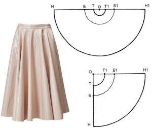 Построение выкройки конических форм юбок (полусолнце, солнце) (Шитье и крой)