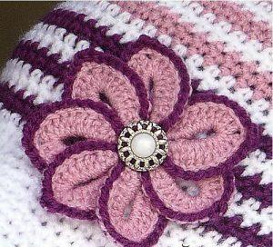 Вязаный крючком цветок с пуговицей (Вязание крючком)