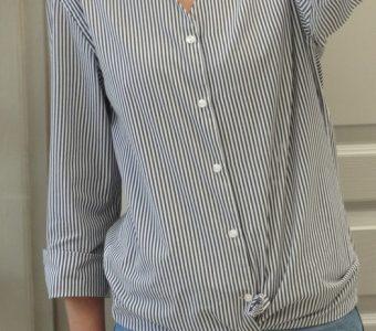 Рубашку мужа превращаем в блузу с V-образным вырезом (Шитье и крой)