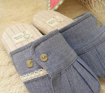 Тапочки из старой рубашки с регулируемой шириной (Шитье и крой)