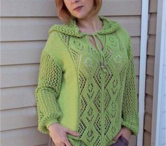 Летний пуловер с капюшоном (Вязание спицами)