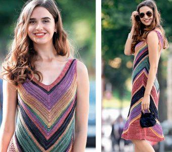 Разноцветное летнее платье (Вязание спицами)