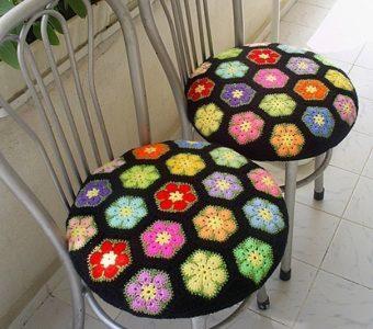 Вязание для дома из цветных мотивов (Вязание крючком)