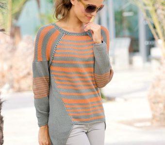 Пуловер со сложным кроем (Вязание спицами)