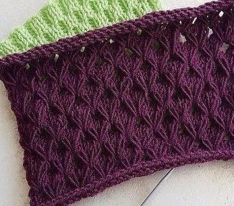 Ажурный узор с вытянутыми петлями (Вязание спицами)