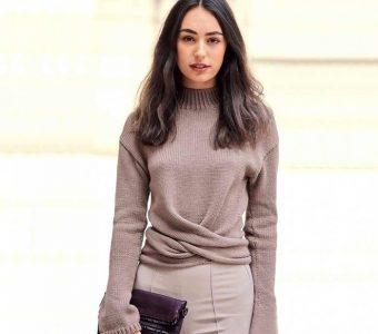 Стильный, элегантный кашемировый пуловер можно трансформировать (Вязание спицами)