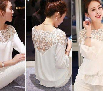Блуза с кружевной вставкой. Выкройка. Размеры 36 – 48 (Шитье и крой)