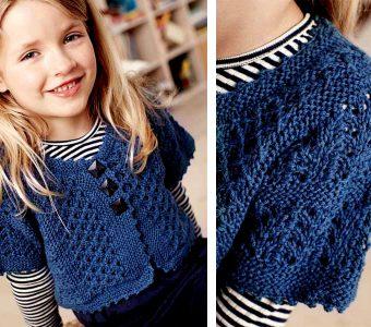 Небольшой жакет с коротким рукавом для девочки (Вязание спицами)