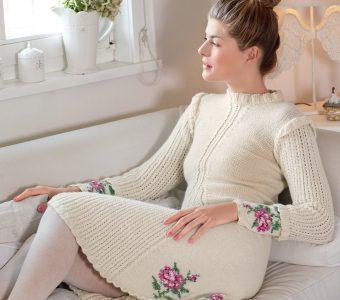 Платье с мотивом «Розы» (Вязание спицами)