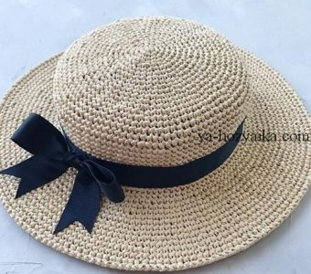 Стильная соломенная шляпка своими руками. Шляпа канотье мастер класс (Вязание крючком)