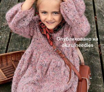 Платье-«фонарик» спицами для девочки (Вязание спицами)