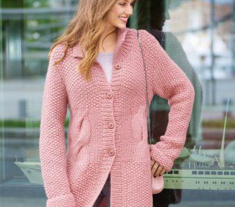 Розовый удлиненный кардиган на пуговицах (Вязание спицами)