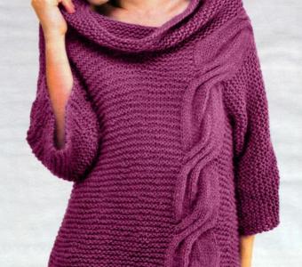 """Модный пуловер простой вязкой, украшенный """"Жгутом"""" – с описанием и схемами (Вязание спицами)"""