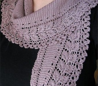 Чудесный бактус –  шарфик-косынка (Вязание спицами)
