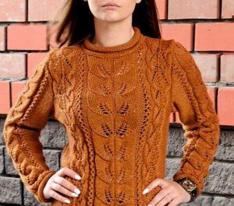 Пуловер с ажурным узором и узором листики