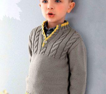 Удобный джемпер для мальчика (Вязание спицами)
