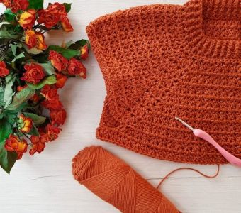 Пуловер крючком терракотового цвета (ИДЕИ ДЛЯ ВДОХНОВЕНИЯ)