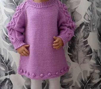 Вязаное детское платье – очень комфортное и выглядит нарядно! (Вязание спицами)