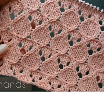 Ажурный узор спицами для вязания палантина, бактуса, плечевых изделий (Вязание спицами)