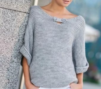 Стильный пуловер для женщин (Вязание спицами)